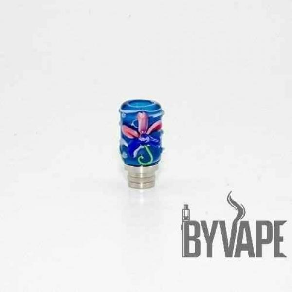 El İşi Çiçekli Cam Drip Dip Mavi 510