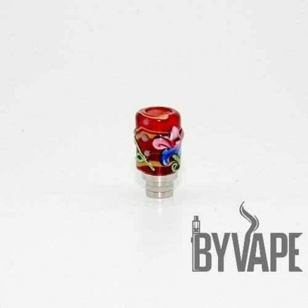 El İşi Çiçekli Cam Drip Dip Kırmızı 510